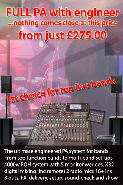 Full PA with engineer for Live Music events